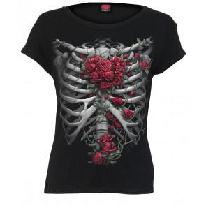 boutique tee shirt gothique mode femme rose bones spiral manches courtes