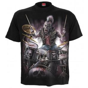 Boutique vente tee shirt rock motif batteur heavy metal zombie backbeat manches courtes spiral