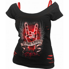 Boutique rock en ligne tee shirt femme motif heavy metal musique signe metalleux