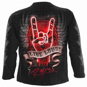 Live loud - T-shirt rock squelette - Homme - Manches longues