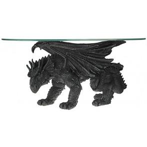 table basse dragon noir en résine - Déco heroic fantasy