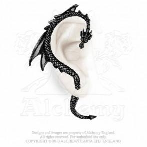 boucler oreille dragon noir alchemy gothic