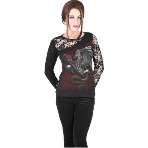 Dragon rose - Tshirt femme dragon - Manches longues