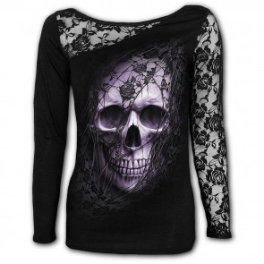 Lace skull - T-shirt femme crane gothic - Manches longues