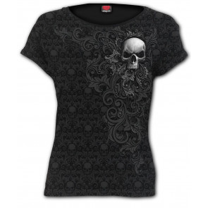 Skull scroll - T-shirt femme gothic - Crane- Spiral