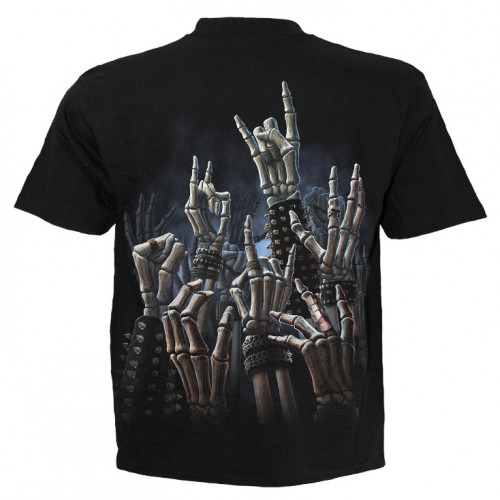 Rock on - T-shirt rock metal squelette -