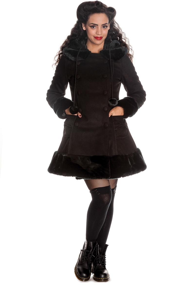 manteau femme noir sarah jane hell bunny. Black Bedroom Furniture Sets. Home Design Ideas