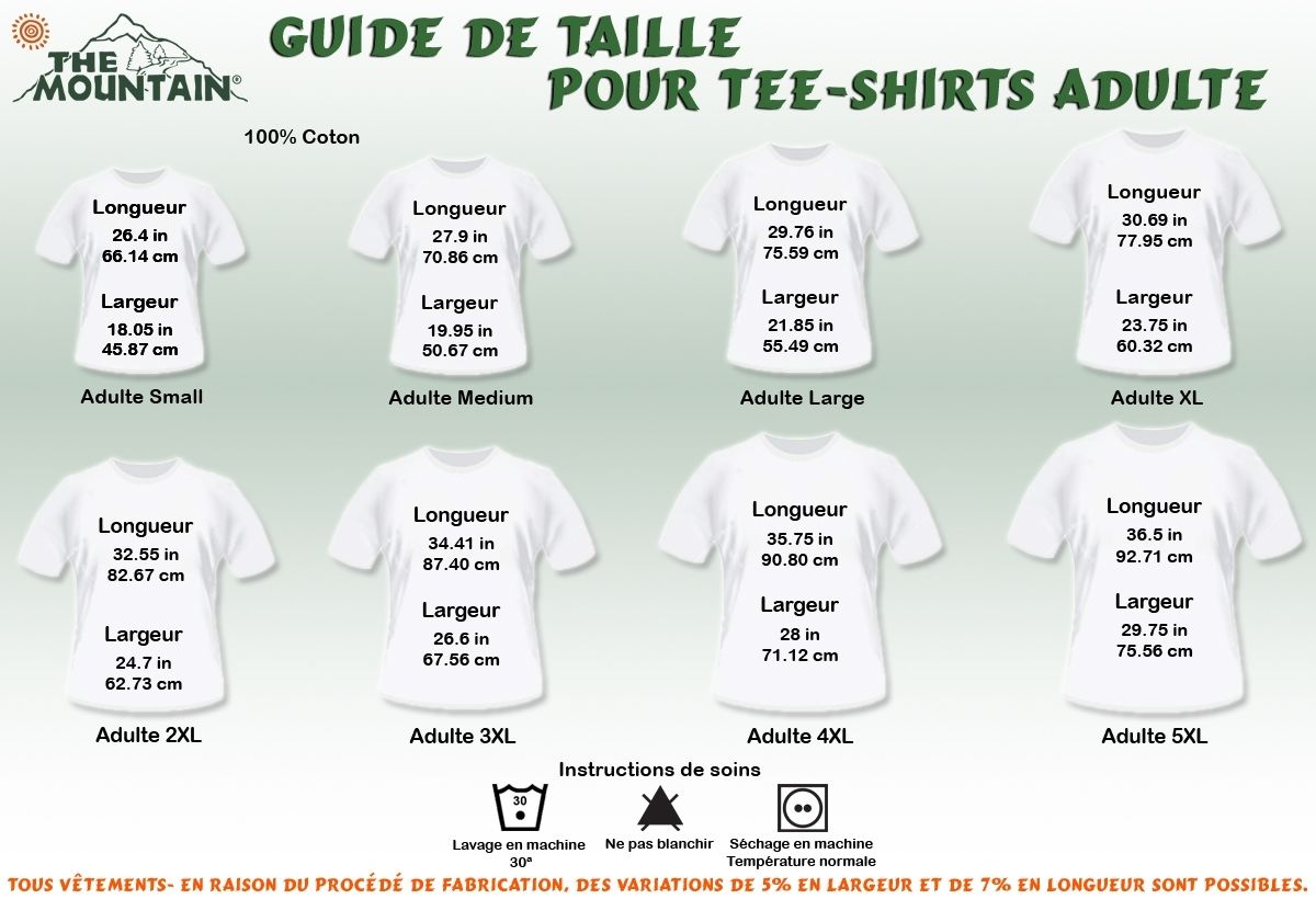 taille tee shirt the mountain adulte manches courtes