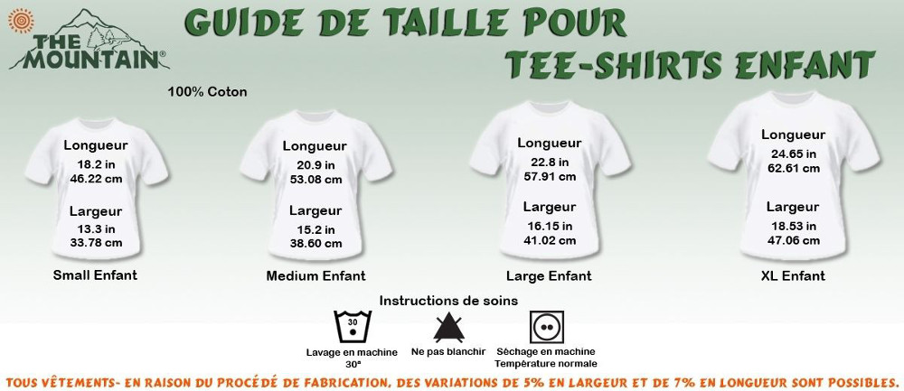 taille tee shirt the mountain enfant manches courtes