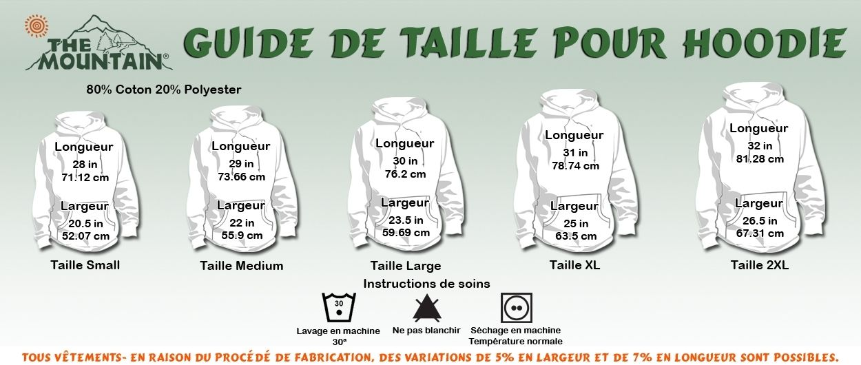 taille sweat shirt the mountain adulte